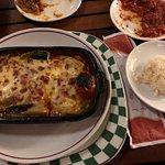 Roasted eggplants, pepperoni, tomato and cheese