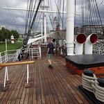 On the deck of Suomen Joutsen