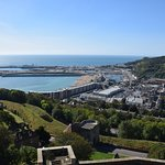 A view of the port of Dover from a castle tower.