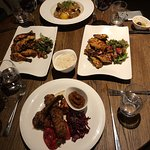 Baby chicken, mixed grill & poached lamb