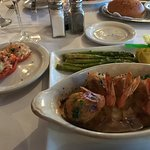 Large stuffed shrimp, Parmesan roasted tomatoes, and asparagus. Delicoius.