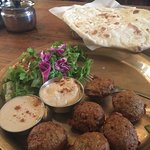 Falafel Plate with Salad. Everything is delicious.