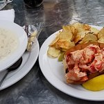 Lobster roll was enough for two. Clam chowder bowl was excellent. I took care of that myself.