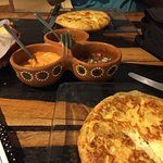 Spanish tortillas; four cheese one in the foreground.