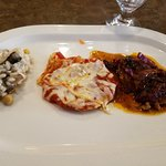 Medallion Pork Tenderloin/Eggplant Parmesan/Risotto w/mushrooms and chickpeas from La Verona