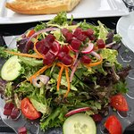 Such a good variety of veges in the garden salad with a tasty balsamic vinegar and oil dressing