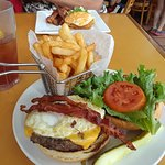 Hangover Burger with fries