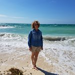 My lovely wife in the sand at the beach