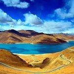 The Turquiose lake Yamdrok-tso in Tibet