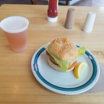 Crab cake sandwich + IPA draft beer, no additional side items offered.
