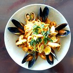 Mix Seafood Spaghetti, with Lobster Bisque, Chilli and Cherry Tomato Sauce