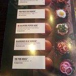 1st burger menus page at Tilted Kilt