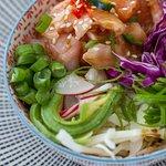Salmon ceviche poke bowl