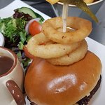 Our new Hot Beef on Brioche with Onion Rings, Salad Garnish and Onion Gravy