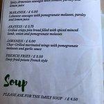 Photos of the menu