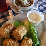 Etoufee and fried crawfish and chicken /sausage gumbo with fried boudin
