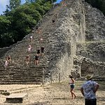This is the Coba Temple that you can climb up and see the vast jungle. Its a brutal climb.