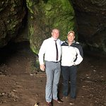 Column on the left and my Husband. Cave where the spirit baby was born
