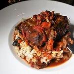 BACON MARMALADE SHORT RIB (pomodoro, demi-glace, smoked bacon jam, mirepoix, wild mushroom risot