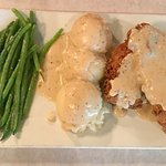 Chicken Fried Chicken w/ Mashed potatoes and garlic green beans