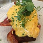 Eggs Benedict with scrambled eggs - creamy delishness!
