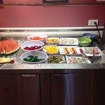 Nice sushi bar & various fruits