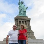 David and Isabel at Statue of Liberty. WE did the Pedestal tour. Lots of stairs .