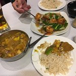 Special curry and King prawn with ginger and spring onion