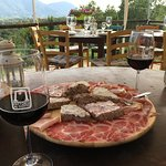 Merlot with meat, bread and cheese