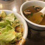 Salad with ginger dressing and soup