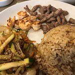 Lunch Combo Hibachi Shrimp and Julienne Steak with Fried Rice and Mixed Hibachi Vegetables