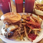 This is the Oh My Gosh Burger, generous home Fries and Red Jalapeno Jelly. So g