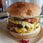 Double green chile cheeseburger