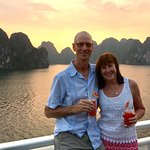 Sunset during our overnight cruise at Halong Bay