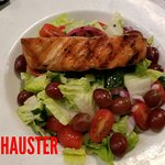 HOT GRILL HONEY SALMON,PINEAPPLE,OLIVE OIL DRESSING,SWEET CHERRY TOMATOES.   HOT GRILL CHICKEN L