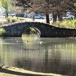 Waterway with bridge inside the gardens