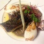 Corsica seabass, squid, Black Jungle Malawi smoked tea...