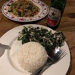 Espinacas con coco y arroz blanco
