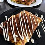 Savoury ham and cheese crepe with mushroom and mayo.
