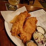 fish and chips (chips underneath - wish there had been more chips)