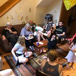 A multi-cabin group dinner - and 50th wedding anniversary celebration