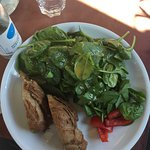 Spinach, paprika, bread.
