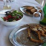 Fried sukini, greek salad