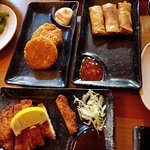 Potato pancake, spring roll and Chicken cutlet