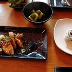 teriyaki chicken, banana bluberry uramaki