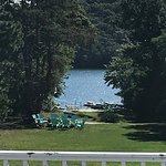 View from private deck looking at Scargo Manor private lake beach