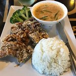 Soft shell crab with curry and rice