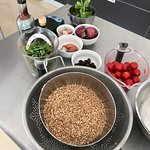 Ingredients ready for Farro Salad