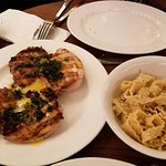 Pasta, Chicken Piccatta and side of mushrooms
