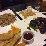 Tempura Prawns, Fried Rice, Gyoza, & Korean bbq steak